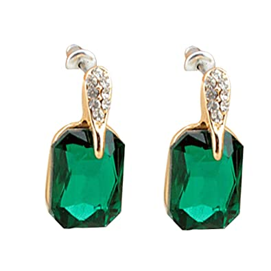 YAZILIND Green Emerald Cut Gold Plated Cubic Zirconia Stud Earrings for Women Wedding Party Gift Ie8W6Yg4