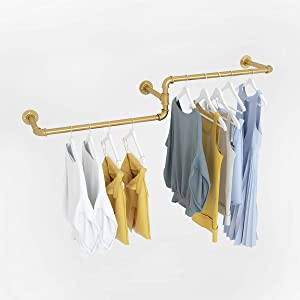 "MDEPYCO Industrial Pipe Wall Mounted Towel Clothing Hanging Shelves System, Modern Simple Laundry Room Rod,Metal Garment Rack for Clothes Retail Display (Gold, 59"" L)"