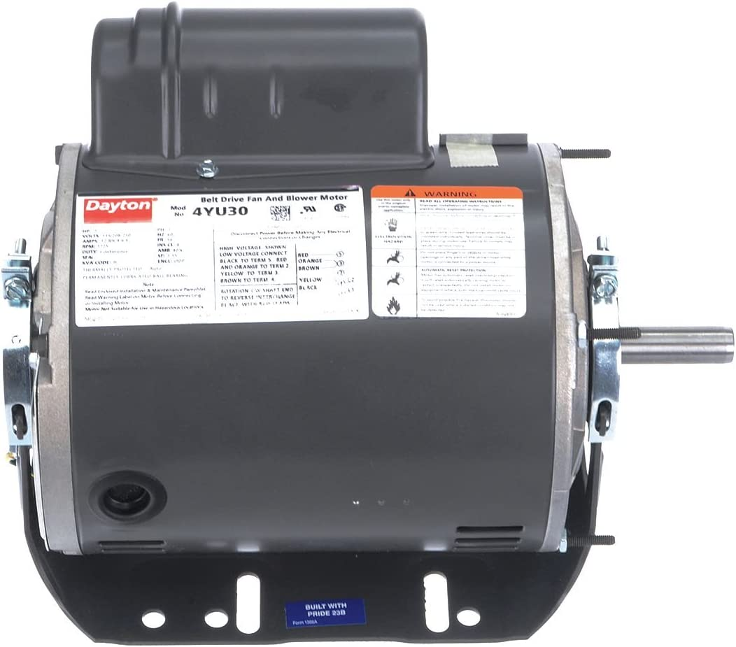 Dayton 1 HP Direct Drive Blower Motor, Capacitor-Start, 1725 Nameplate RPM, 115/208-230 Voltage, Frame 56 - 4YU30