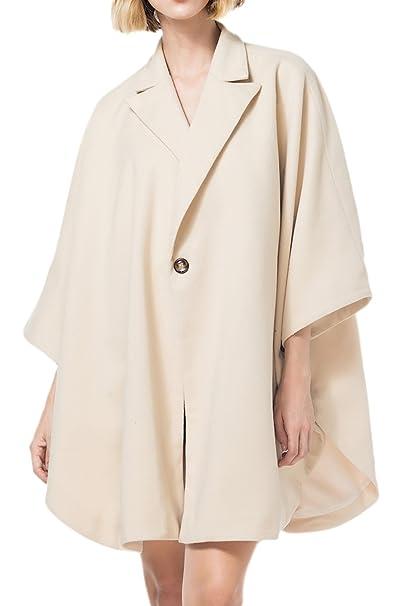 La Mujer Invierno Casual Solid Solapa Abrigo De Tweed Poncho Cabo Suelto Lado Limo Beige One Size: Amazon.es: Ropa y accesorios