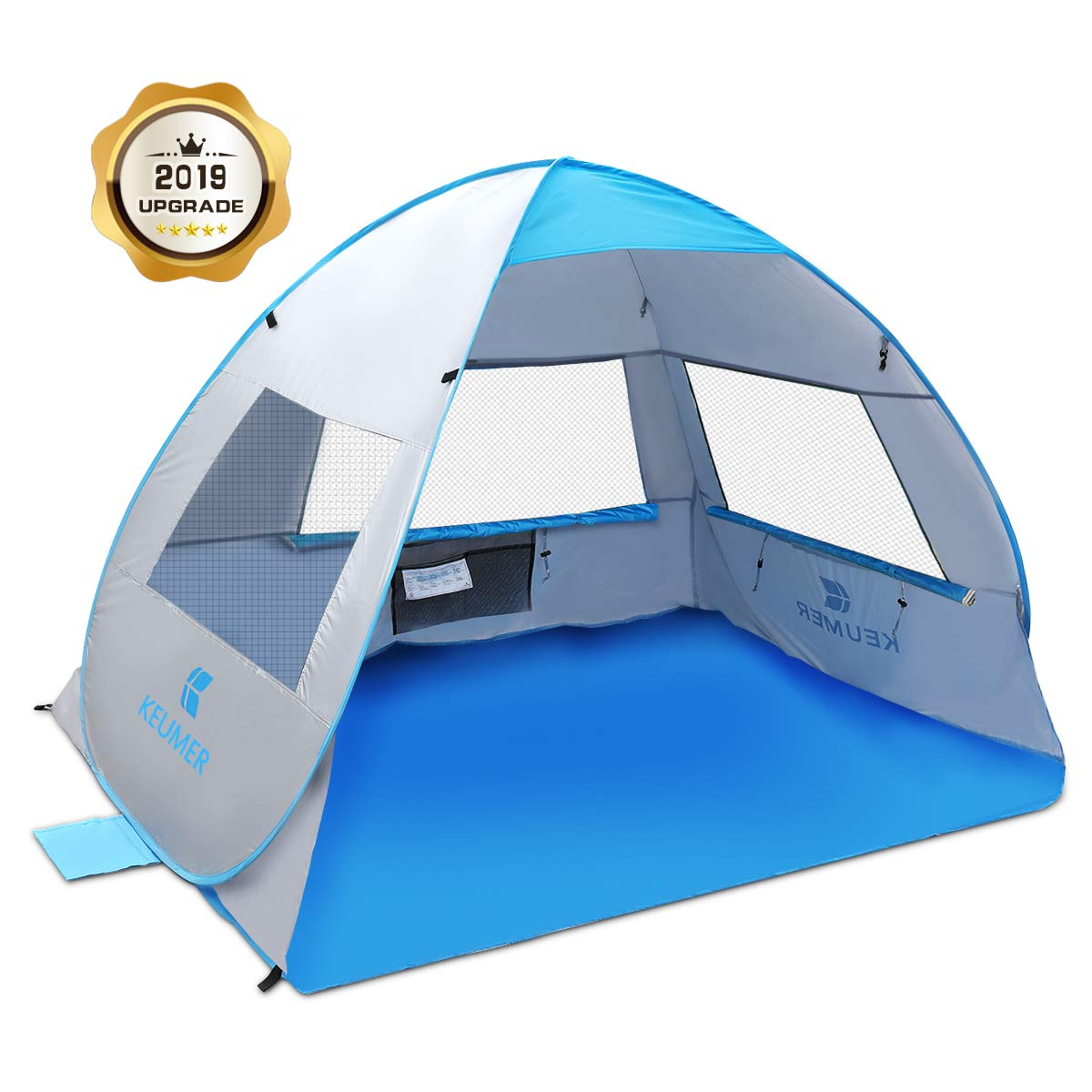 SGODDE Large Pop Up Beach Tent 2019 New Anti UV Sun Shelter Tents Portable Automatic Baby Beach Tent Instant Easy Outdoor Cabana for 3-4 Persons for Family Adults by SGODDE