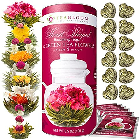 Teabloom Heart Shaped Flowering Tea – 12 Assorted Blooming Tea Flowers Gift Set - Green Tea + Jasmine, Pomegranate, Strawberry, Rose, Litchi & - Flowers And Gifts