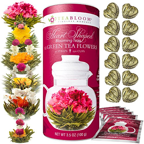 Teabloom Heart Shaped Flowering Tea – 12 Assorted Blooming Tea Flowers Gift Set – Green Tea + Jasmine, Pomegranate, Strawberry, Rose, Litchi & Peach – Unique Romantic Valentine Gift (Flowering Blooming)