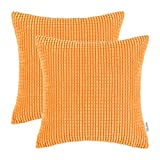 Pack of 2, CaliTime Cushion Covers Throw Pillow Cases Shells, Comfortable Soft Corduroy Corn Striped Both Sides, 18 X 18 Inches, Orange