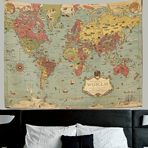 HMWR World Map Tapestry Wall Hanging Vintage Ancient Shabby Chic World Map Compass Wall Fabric Tapestry Throw Artwork Home Decoration for Living Room Bedroom Dorm 90x60 Inch