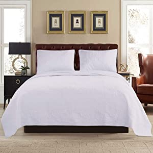 """ARTO MOSTO 100% Cotton Quilted and Prewashed 3PC Oversized Luxury Quilt Set/Coverlet Set/Bedspread Set.Full/Queen:92""""x96""""/20x26""""(2), King: 110""""x96""""/20x36""""(2) (Pattern #4-White, King)"""
