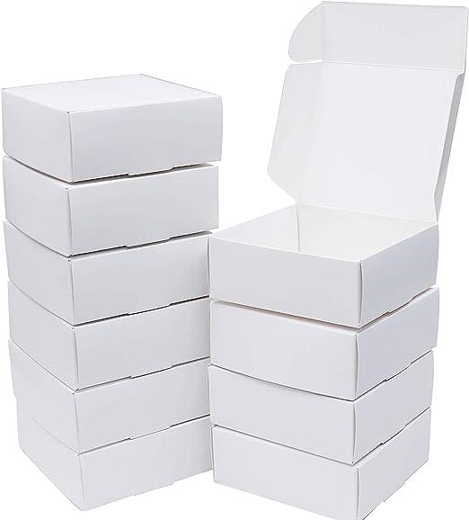 Cajas de Regalo(Pack de 50)- 13cm x 12cm x 5cm, Blanco, Kraft ...