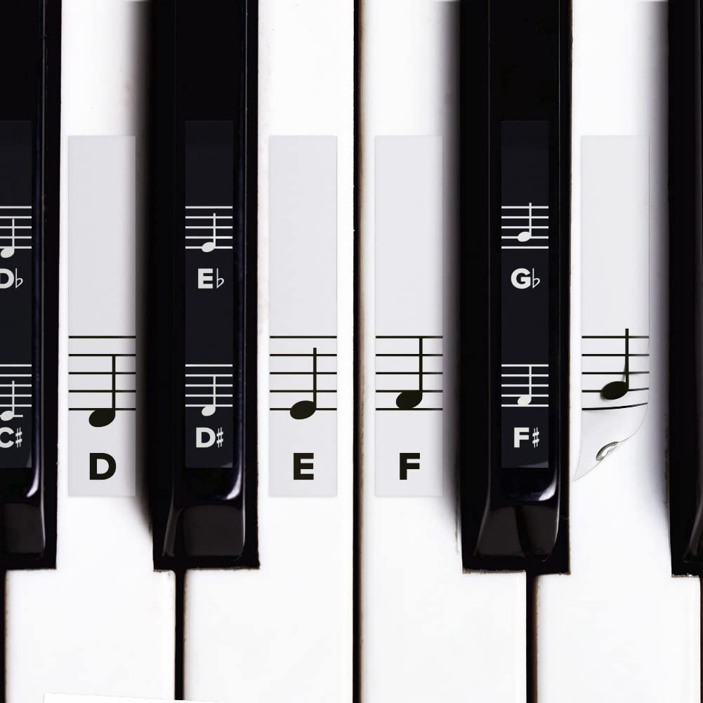 Piano Stickers for White & Black Keys w/Complete Grand Staff Notes for 49/61 / 76/88 Keyboards