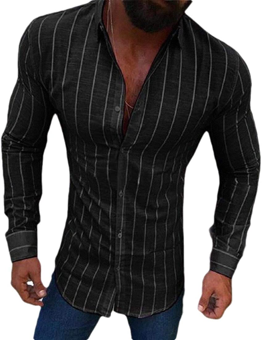 WSPLYSPJY Men Slim Fit Button Down Shirt Long Sleeve Muscle Dress Shirt