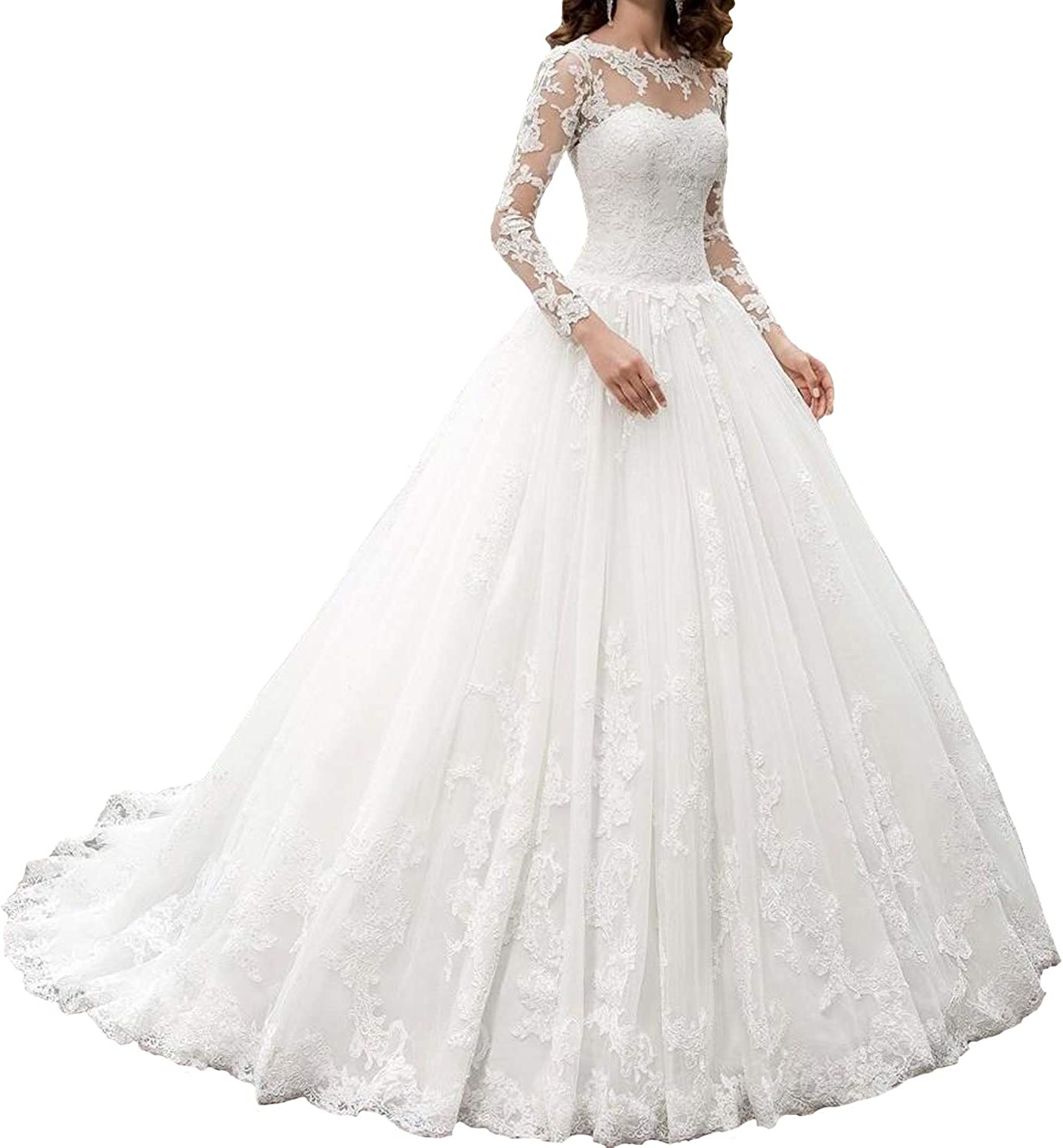 Owman New Women S Long Sleeves Scoop Lace Ball Gown Wedding Dress Bridal Gowns At Amazon Women S Clothing Store