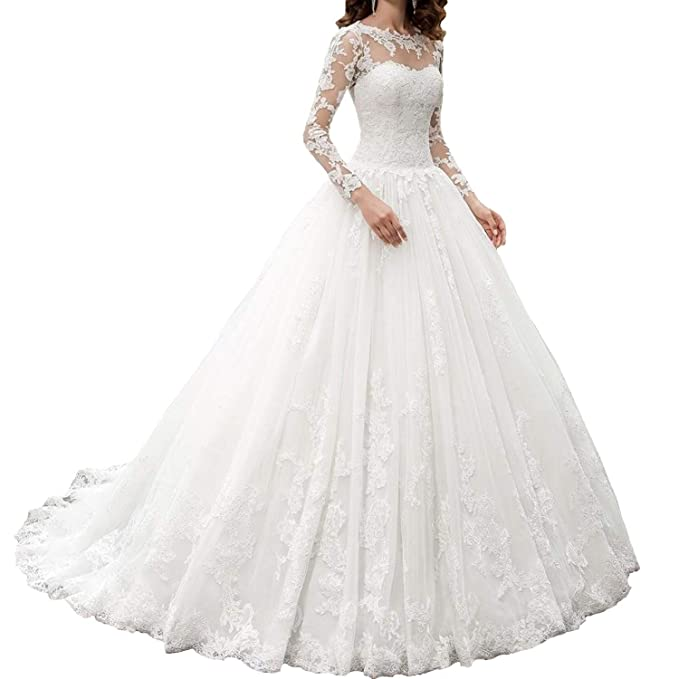 Amazon.com: OWMAN Vestido de novia de manga larga con encaje ...