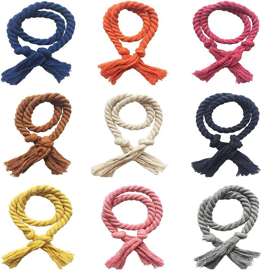 gfjhgkyu 2 St/ücke Einfarbig Weben Baumwolle Leinen Seil Vorhang Zubeh/ör Raffhalter Halter Wohnkultur-Beige