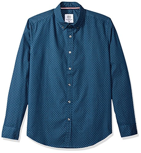 Badger Smith Men's Cotton Poplin Print Slim Fit Button Down Shirt XL Navy Polka Dot ()