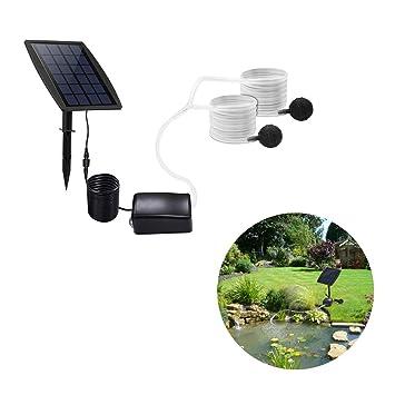 Houkiper Bomba de oxígeno accionada solar Oxigenador para la pesca al aire libre acuario del tanque de pescados para el jardín: Amazon.es: Hogar