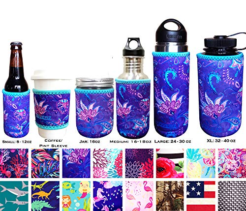 Koverz XL Neoprene 32-40 oz Water Bottle Insulator Cooler Coolie - XL Violet Whimsy