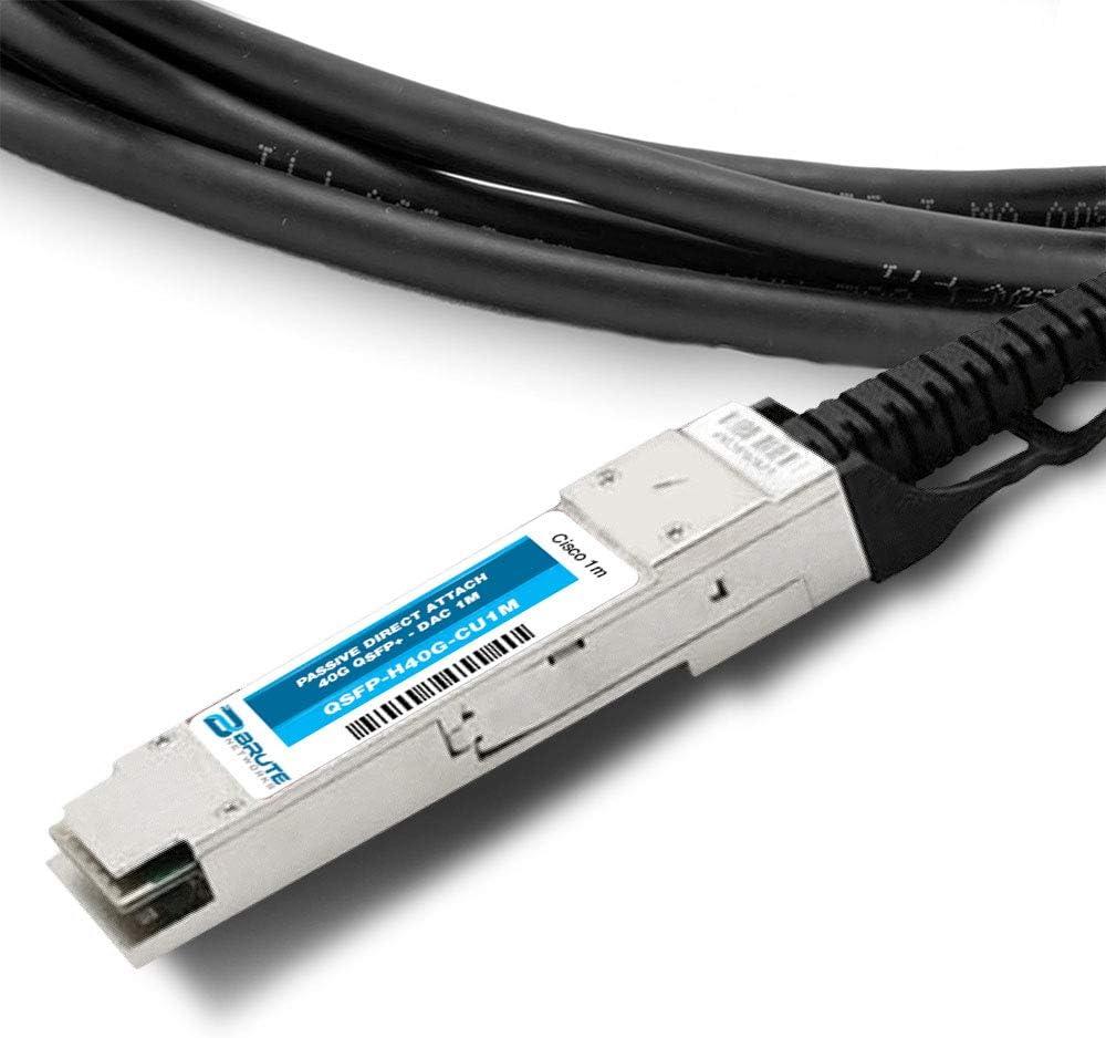 Compatible with OEM PN# QSFP-H40G-CU5M 5m QSFP Brute Networks QSFP-H40G-CU5M-BN to QSFP Passive Copper Cable