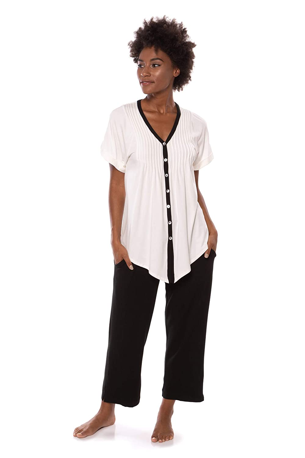 Black Women's Short Sleeve PJ Set  PJs in Bamboo Viscose by Texere (Sweet Paradise)