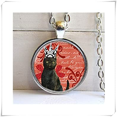 Colgante de gato, collar de gato negro, joyas para gatos ...