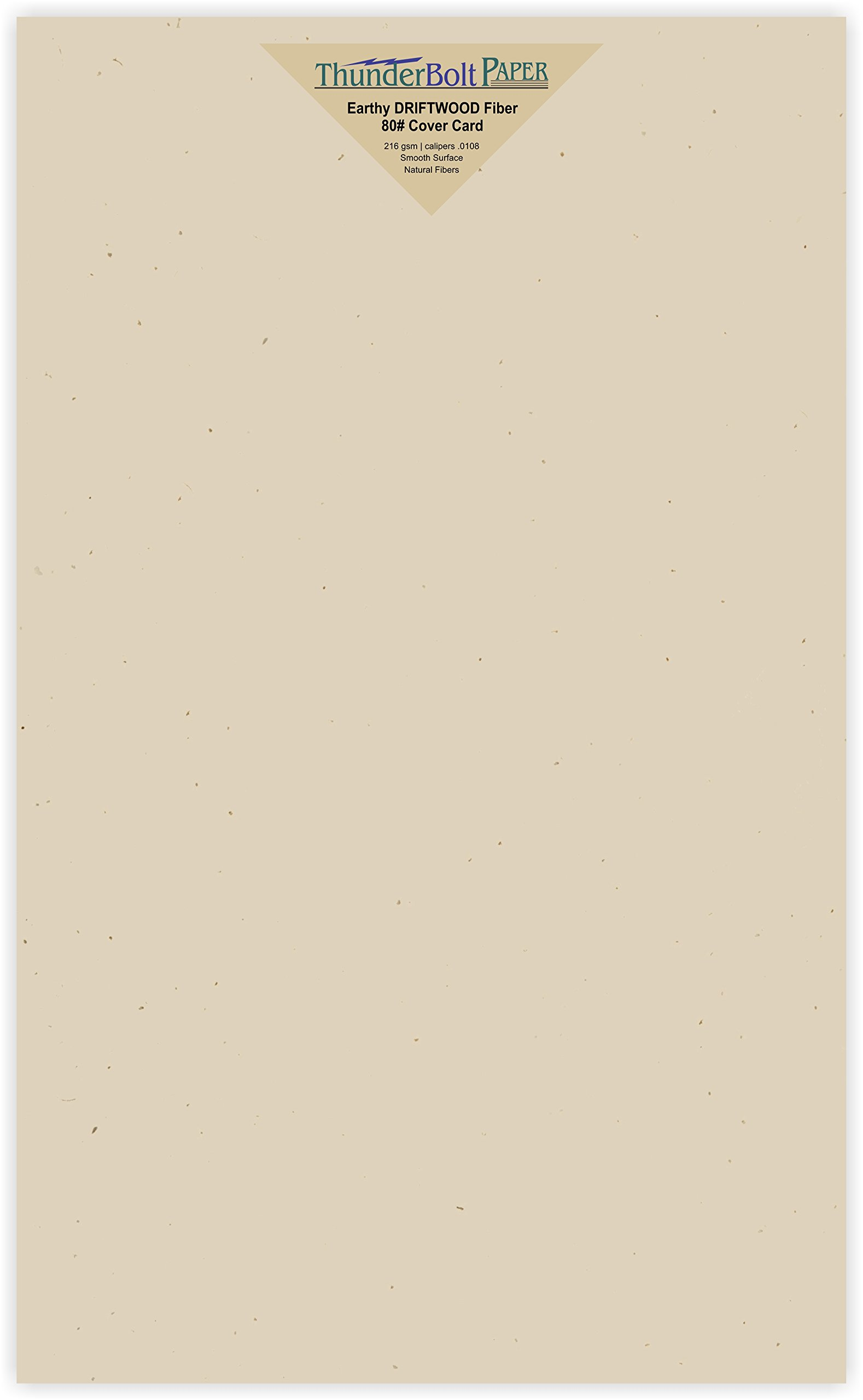 250 Earthy Driftwood Tan Fiber 80# Cover Paper Sheets - 8.5'' X 14'' (8.5X14 Inches) Legal|Menu Size - Light Tan Color with Natural Fibers - Smooth Finish