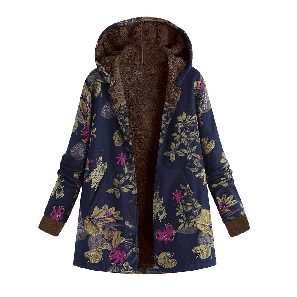 iLXHD Womens Winter Warm Outwear Floral Hooded Pockets Vintage Oversize Coats Navy
