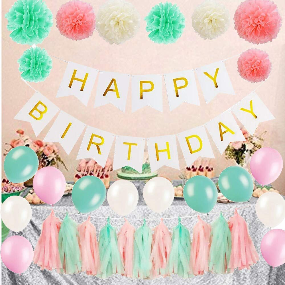 ShinyBeauty Sweet 16 Decorations Pompom Flowers Party Balloons Sheets Tissue Tassels Happy Birthday Banner Supplies 1 Year