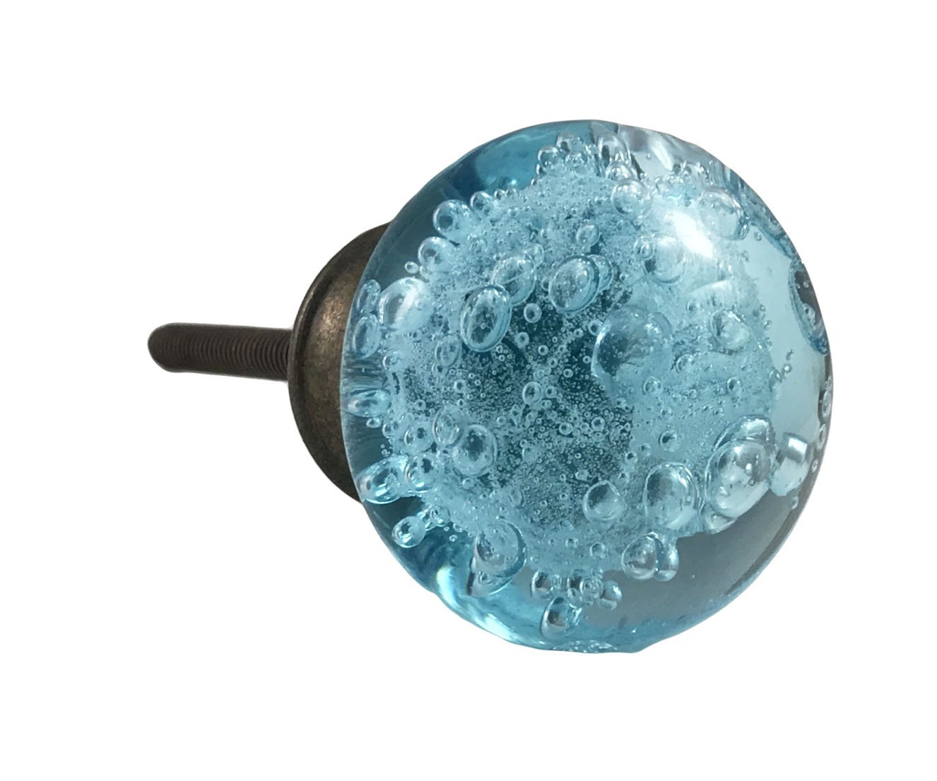 Aqua Blue Bubbles Glass (New Design) Dresser Drawer, Kitchen Cabinet Oil Bronzed - Pack of 12