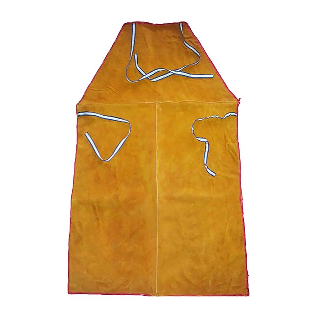 MagiDeal Welder Apron Heat Insulation Cowhide Leather Welding Protection Orange