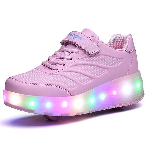 Unisex Niños LED Roller Zapatos Skate Ajustable Rueda Automática Parpadea Zapatillas Skateboard Gimnasia Deportes Zapatos para