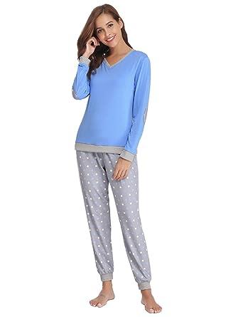 9fe479352 Abollria Women Long Sleeve Pyjamas Set Loungewear V-Neck Top & Wavy-Spots  Bottoms
