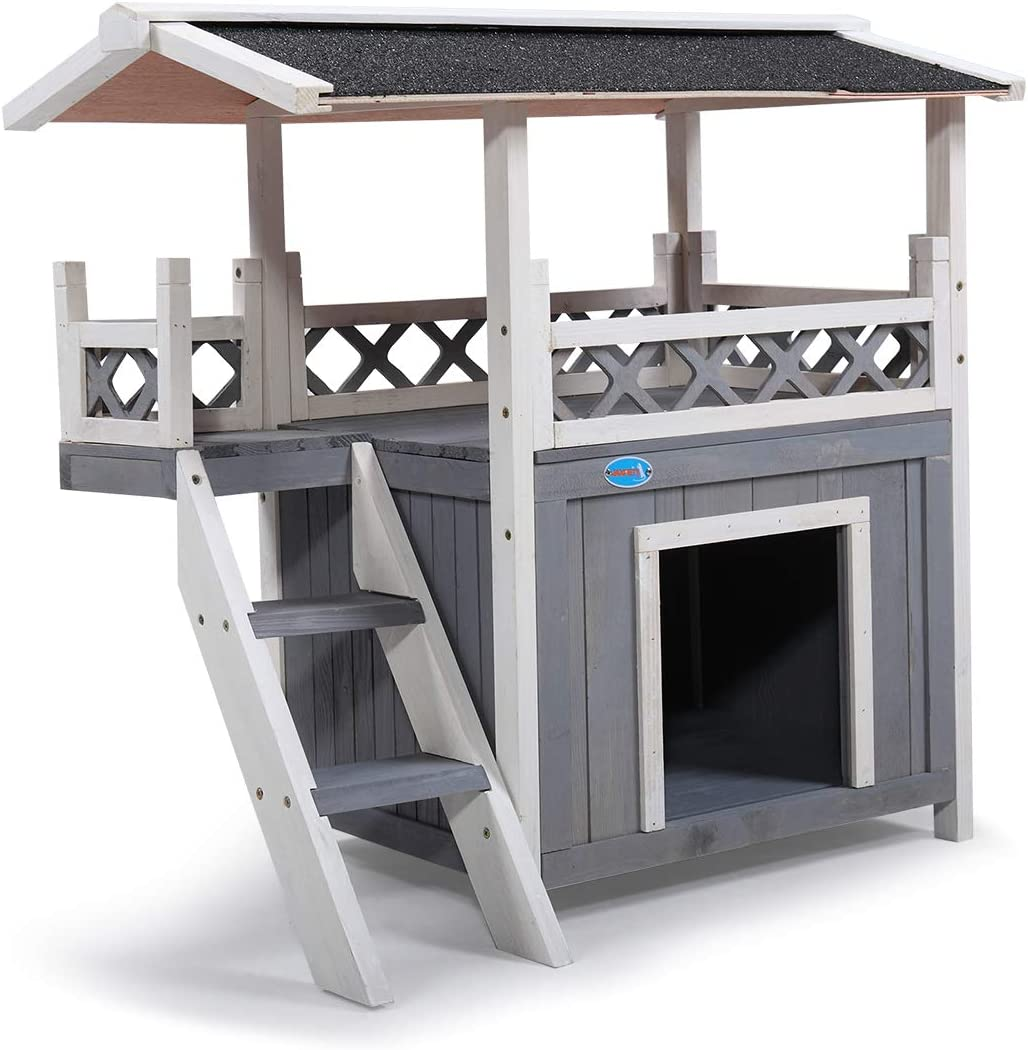 Wooden Cat Hut Shelter for Cat Kitten Puppy with Stairs Balcony Wood Pet Furniture COZIWOW Dog Houses for Small Medium Dogs Indoor Outdoor Waterproof