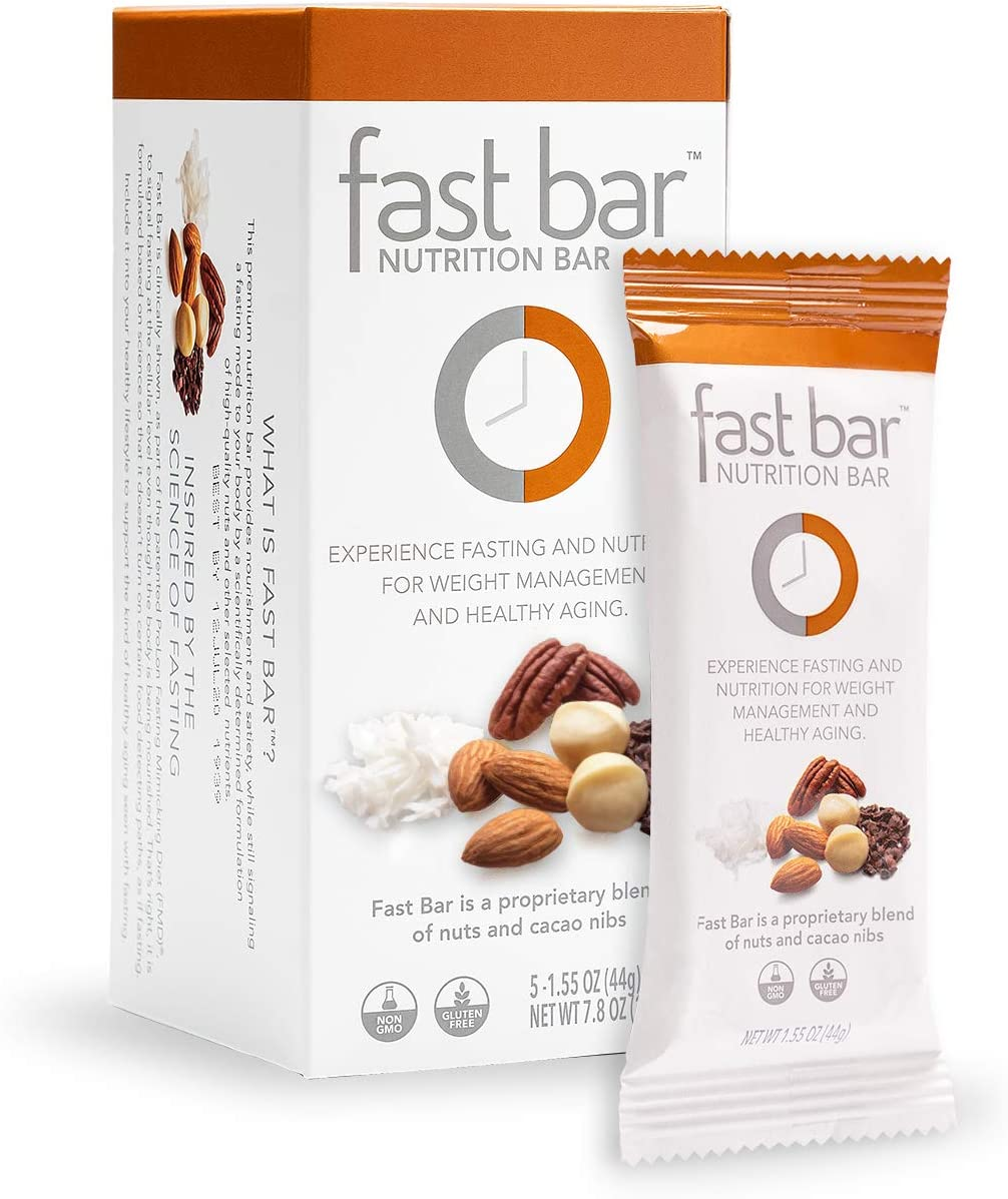 Fast Bar, Nuts Nibs, Gluten Free, Plant Based Protein, Weight Management, Intermittent Fasting 5 Count Box