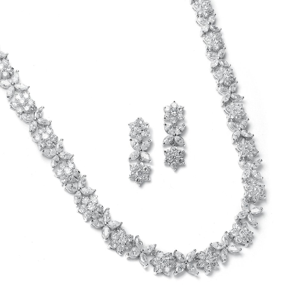 Mariell CZ Necklace and Earring Set with Marquis Flowers - Luxe Wedding Bridal Statement Necklace Set