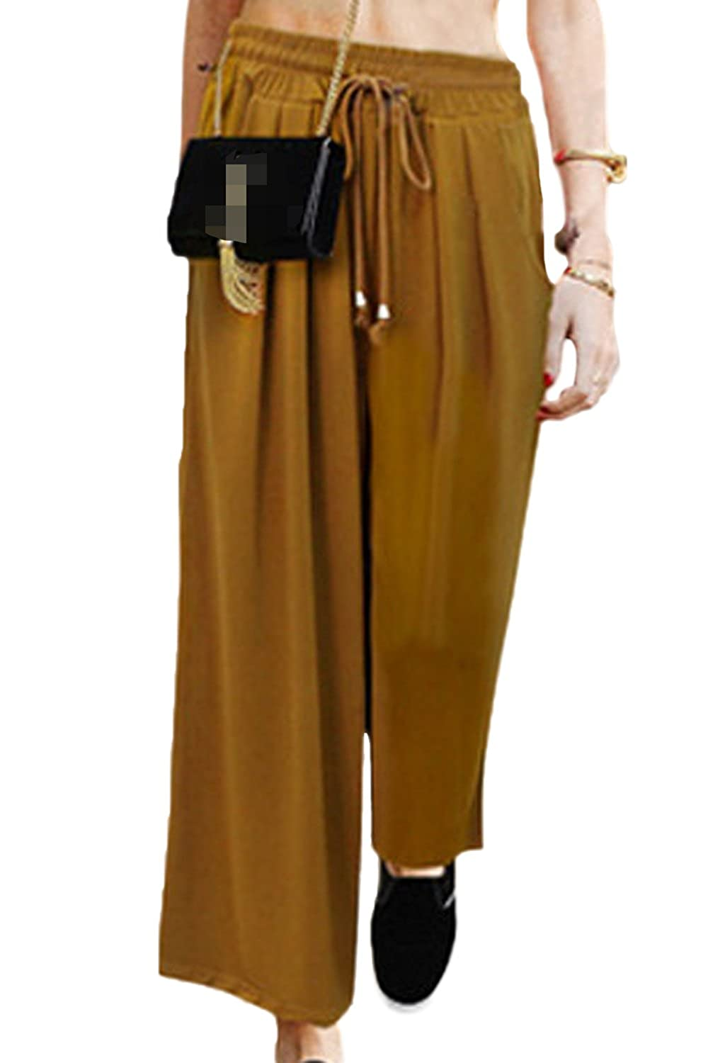 Women Casual Solid OL Office Wide Leg Palazzo Trousers Paperbag Pant CAQZ1882