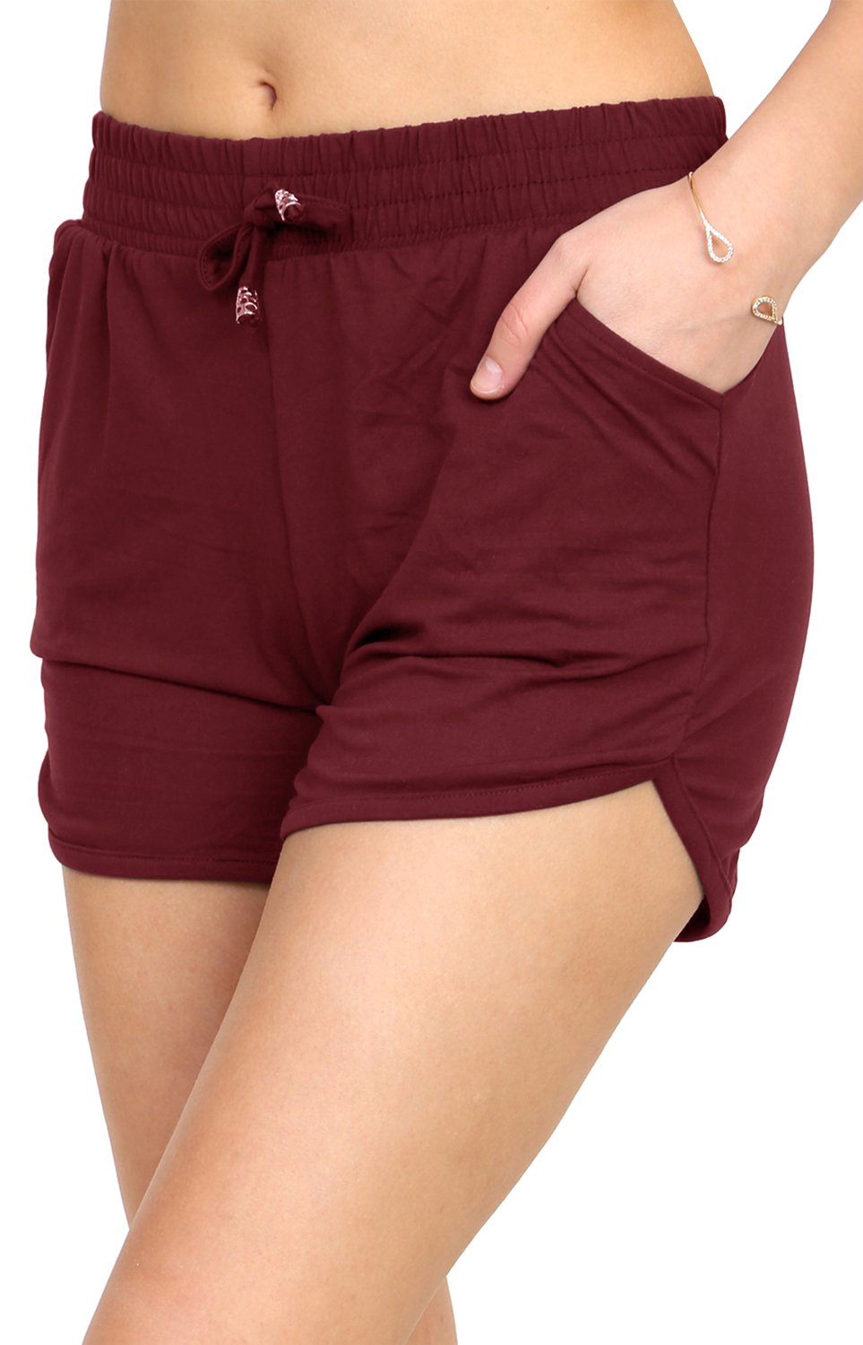 VIV Collection Printed Brushed Casual Summer Shorts (Burgundy, Small/Medium)