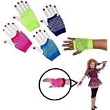 Dazzling Toys Assorted Fingerless Diva Fishnet Wrist Gloves - Short. Pack of 6