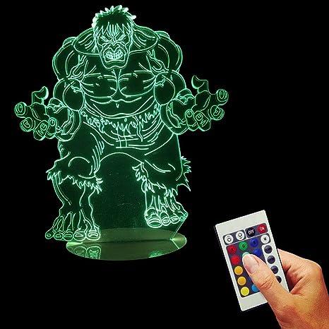 FBEST Ilusión 3D Control Remoto Verde LED Mesa de Escritorio ...