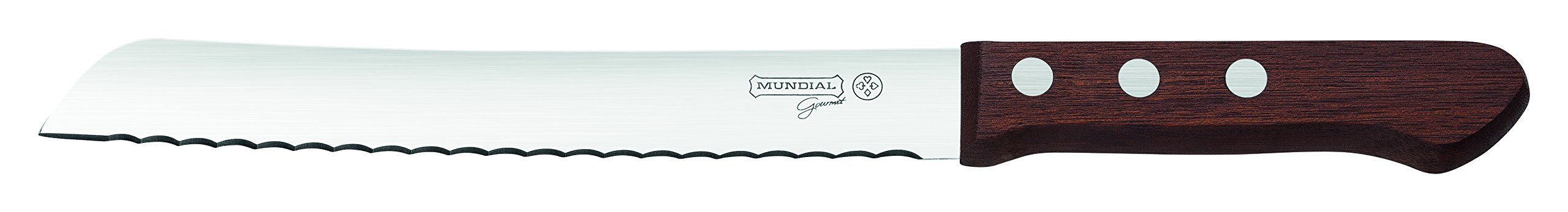 Mundial 1121-8M Premium Wood 8 in Bread Slicer Knife Serrated Stainless Steel with Wood Handle 1 Bread Knife blade has an ultra-sharp serrated edge that grips & quickly cuts without tearing Multi-purpose knife is deal for slicing cake, crusty bread, bagels, pastries, pineapple & tomatoes Wood handle: hand wash only and dry before storing