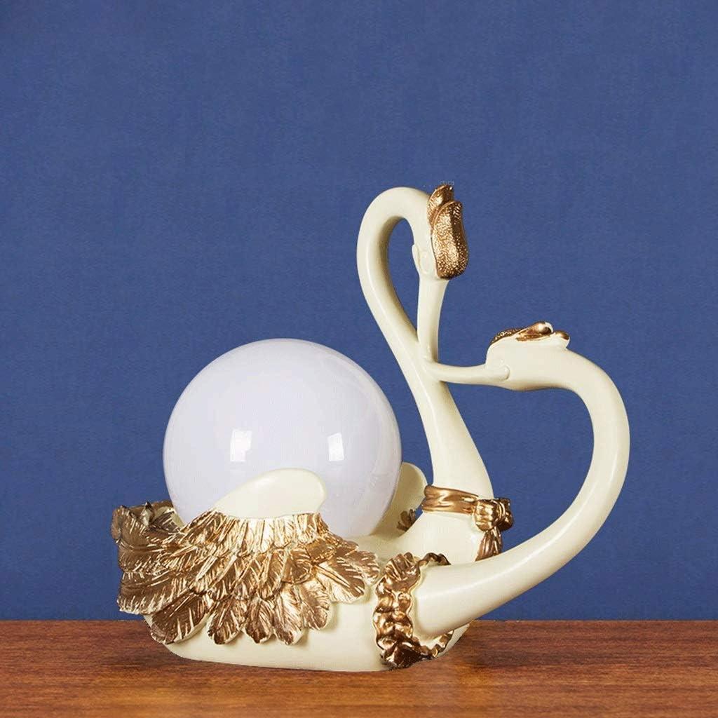WZHZJ Swan Table Lamp Bedroom Bedside Lamp Retro Art Deco Lamps/Gifts/Desktop Ornaments/Decorations (Color : B) D