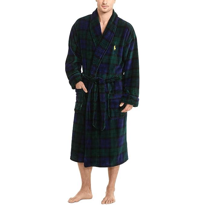 Polo Ralph Lauren Men s Microfiber Plush Long Sleeve Shawl Collar Robe  Blackwatch Plaid Polo Yellow 49bd5b9858e