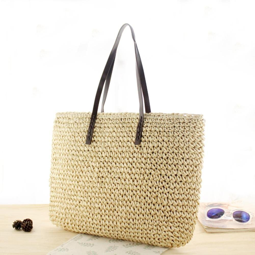 Oshide Les femmes d/ét/é Straw Shopping fourre-tout plage /épaule sac /à glissi/ère panier /à main