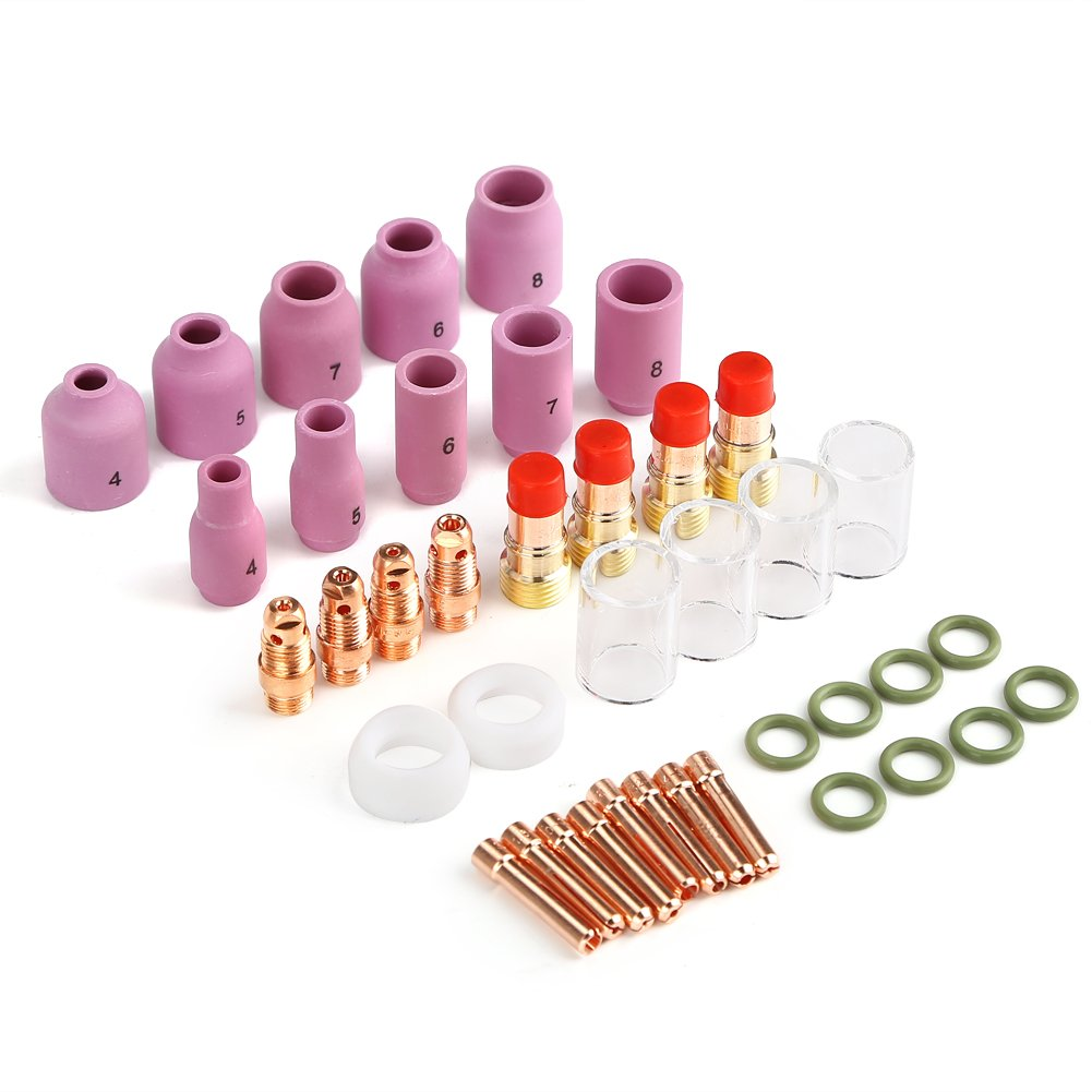 Rupse 23pcs Tig Welding Torch Accessories Gas Lens #10 Cup Kit for Tig Wp-17/18/26 Torch (23pcs)