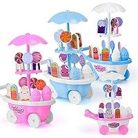 CyCspriqh 17Pcs Pretend Role Play Simulated Lollipop Ice Cream Trolley Education Kids Toy - Random Color