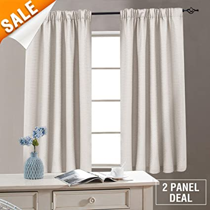 Waffle Weave Window Bathroom Curtains Kitchen Curtains Rod Pocket Window  Curtain Set for Living Room 54 Inches Length, Oyster, 2 Panels