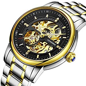VEADONS Men's Hollow Automatic Skeleton Two-Tone Golden-Plated Bracelet Stainless Steel Strap Watch