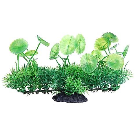 Aikesi Plantas Artificiales Acuario y Pecera,Planta Artificial simuladas Verde,Plastico,Hermosa Decoracion