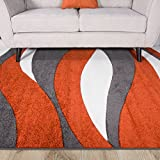 Terracotta Orange Color Curvy Wave Pattern Design Living Room Floor Rug 5'3″ x 7'7″ Review