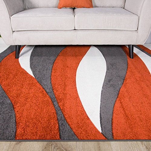 Terracotta Orange Color Curvy Wave Pattern Design Living Room Floor Rug 5'3″ x 7'7″ Review