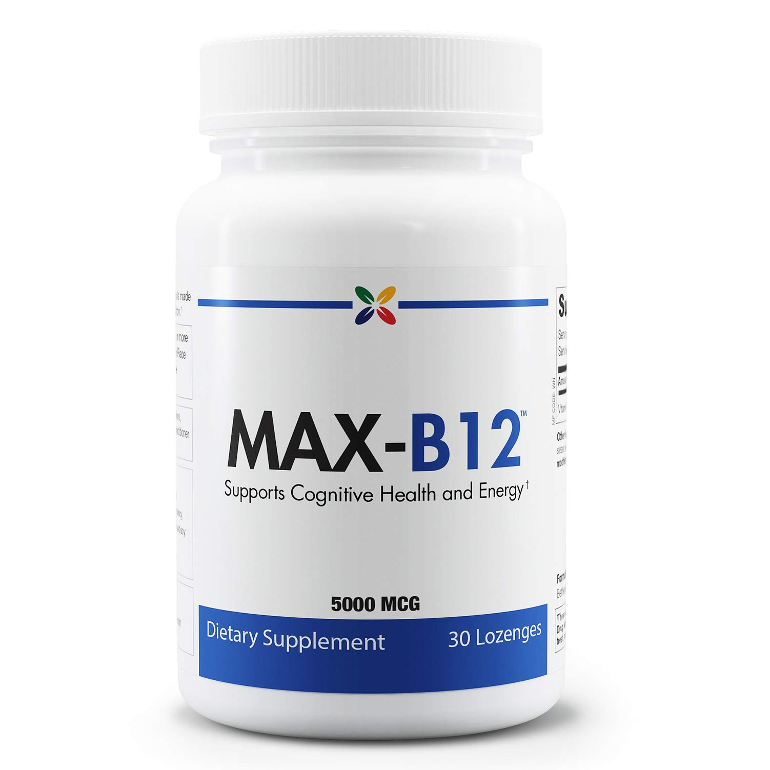 Stop Aging Now - MAX-B12 Vitamin B12 Lozenges 5000 mcg - Supports Cognitive Health and Energy - 30 Lozenges