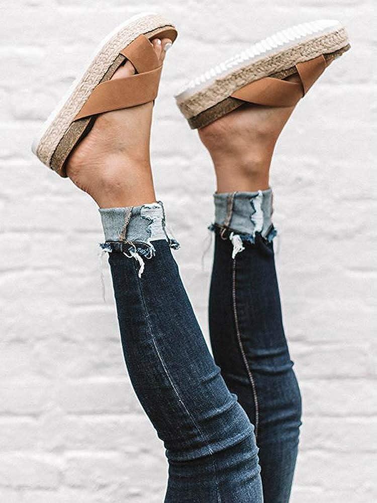 SNIDEL Espadrilles Wedges for Women Strappy Leather Sandals Platform Slides Open Toe Slippers Summer Slip on Shoes