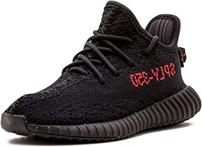 Adidas Yeezy Boost 350 V2 Noir Noir et rouge., 8 Big Kid
